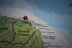 Cayenne, capital city of French Guiana pinned on geographical map