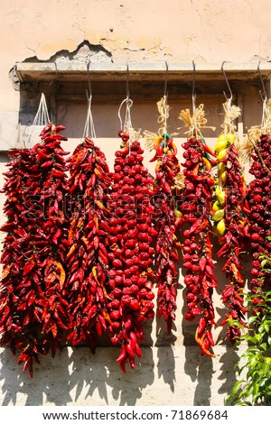 Cayenne in a shop of italian city  Naples