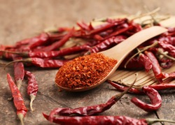 Cayenne pepper,Dried red chili on wooden table.