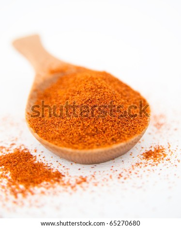 Cayenne Pepper Spice in Bamboo  Wooden Spoon