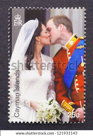 CAYMAN ISLANDS - CIRCA 2011: a postage stamp printed in Cayman Islands showing an image of royal wedding between Prince William and Kate Middleton, circa 2011.