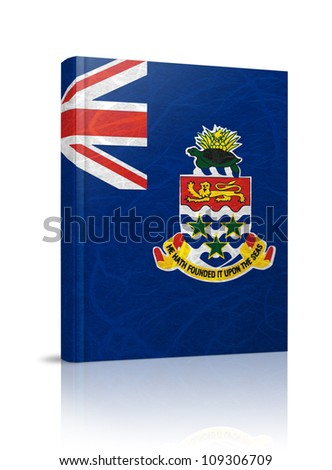 Cayman Islands flag book. Mulberry paper on white background.