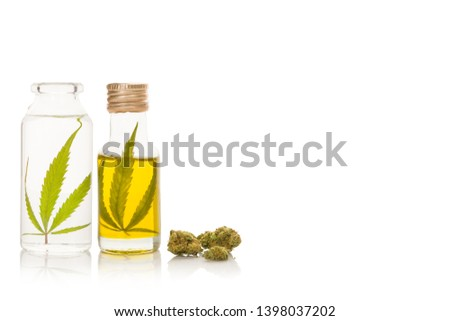 CBD marijuana oil and extract with marijuana buds, isolated on white background.