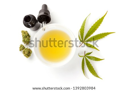 CBD marijuana oil extract in medicine dropper with marijuana leafs, isolated on white background. Medical marijuana, herbal remedy.