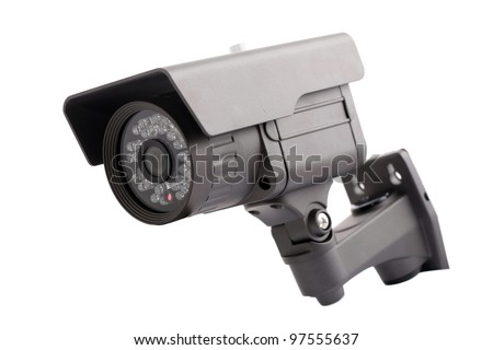 CCTV camera isolated on white - stock photo