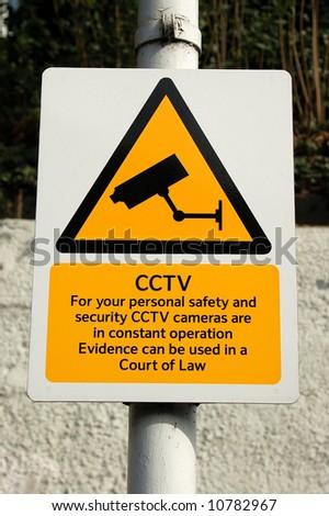CCTV camera warning sign close-up