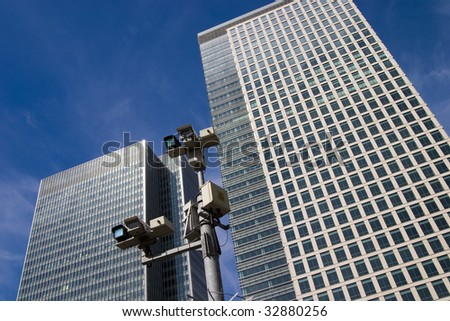 CCTV cameras at Canary Wharf, London, UK