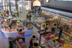 CCTV Dome infrared camera new technology 4.0 signal for Counting number of people in area or counting customer in shop simple as in square  block are signal of counting by CCTV system