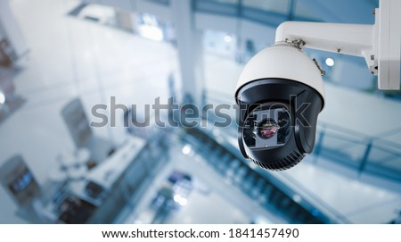 CCTV on Shopping mall or supermarket on blurry background. Foto stock ©