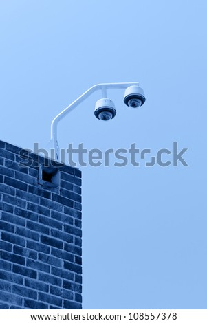 CCTV security cameras mounted on the office building corner