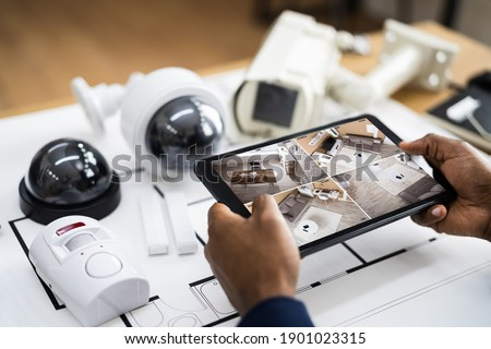 CCTV Security System Alarm Home Office Equipment Photo stock ©