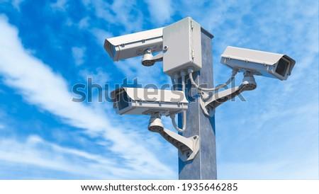 CCTV street cameras on pole. 3D render illustration Foto stock ©
