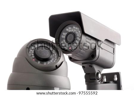 CCTV surveillance cameras isolated on white