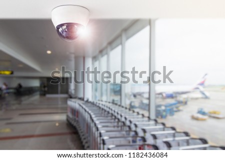 CCTV system security inside of building, Surveillance camera installed on ceiling to monitor for protection customer, Concept of surveillance and monitoring.