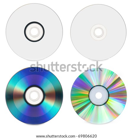 CD and DVD isolated on White