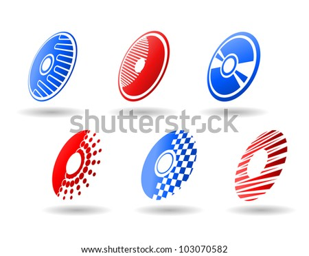 CD and DVD symbols and icons set for design, such logo. Vector version also available in gallery