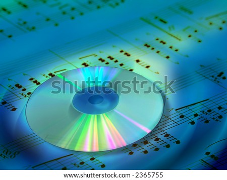 CD and music sheet. Digital illustration.
