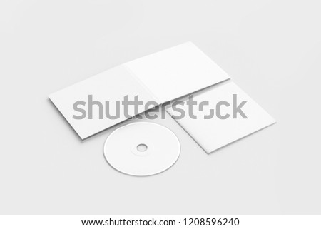 CD disc and carton packaging cover template mock up. Digipak case of cardboard CD drive. With white blank for branding design or text. isolated on soft gray background.High resolution 3d illustration.