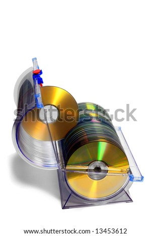 CD-DVD Container with golden disks on white background