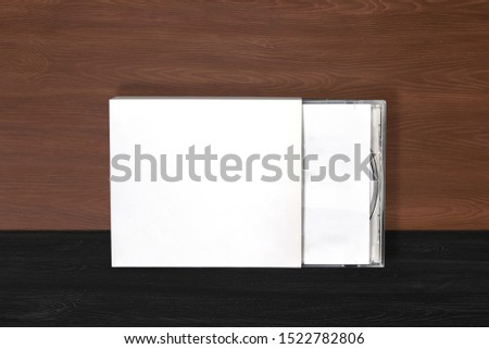 cd dvd cover album design template mockup on wood background for musician #1522782806