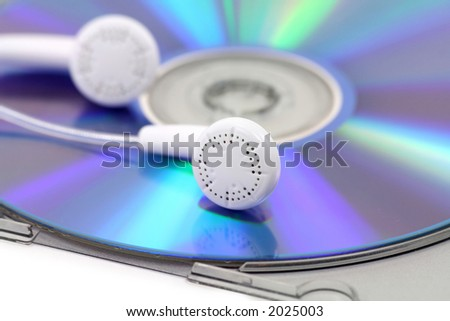 cd, earphone, concept of mp3 music