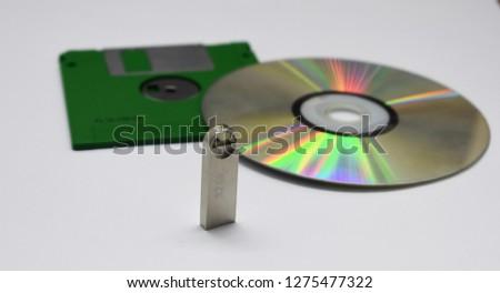 Cd, Floopy Disk, Flash disk