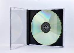 cd in its box with white background