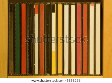CD in shelf without titles.