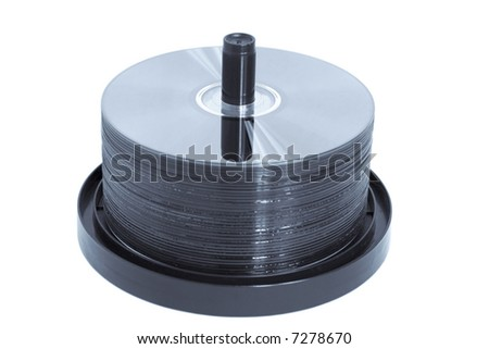 CD or DVD discs on a spindle.  Blue toned.  Isolated on a white background.