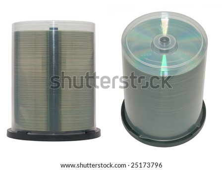 CD or DVD discs on a spindle. Isolated.
