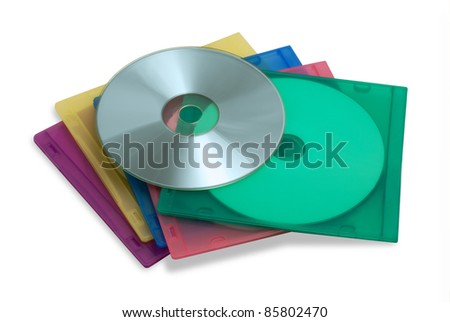 CD or DVD in colored plastic cases isolated on white