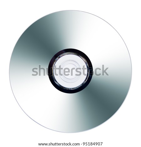 CD or DVD on white background, data side surface
