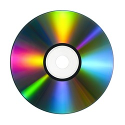 CD or DVD with lots of vivid colors reflected on its surface