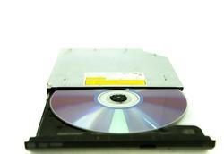 CD Rom tray on white Background, External CD-RW,CD-RW burner drive DVD-R combo player