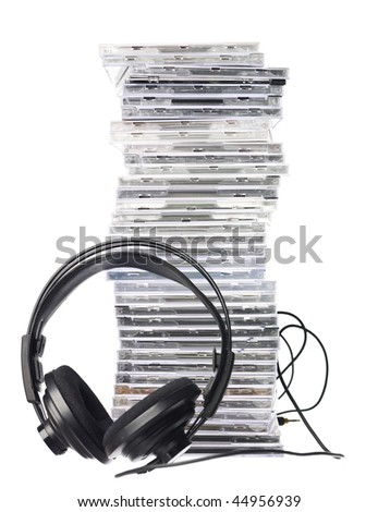 Cd`s and Headphones isolated in white background - stock photo