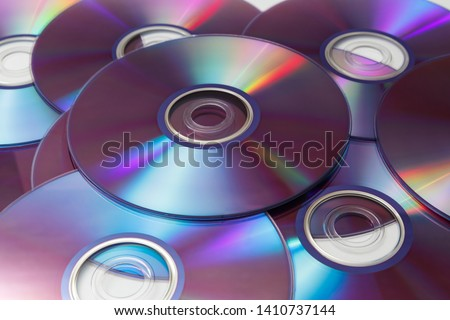 CD's, DVD's on white background Foto stock ©