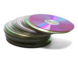 CD stack isolated on white background