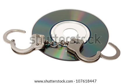 Cd with handcuffs isolated on white background