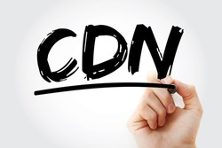 CDN - Content Delivery Network acronym with marker, technology concept background
