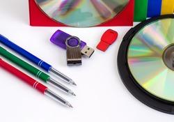 CDs / DVD, envelopes for disks on white background, technologies