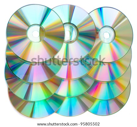 CDs in a rows isolated on white. - stock photo