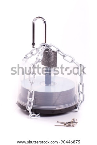CDs in the box linked chain and padlock isolated