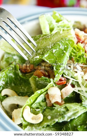 ceasar salad with fork