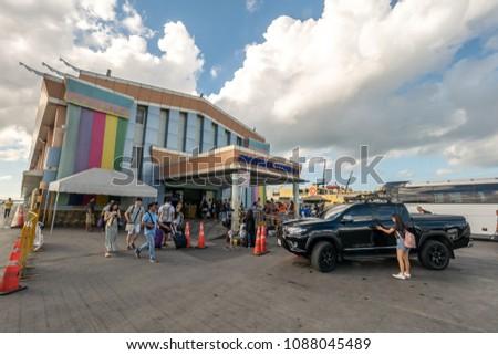 Cebu City, Philippines : Apr 24,2018 Tourist enter a Cebu Passenger terminal 1