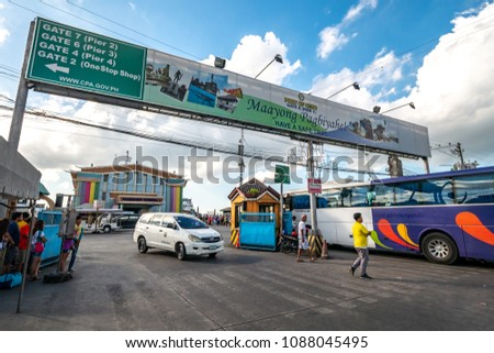 Cebu City, Philippines : Apr 24,2018 Tourist enter a Cebu Passenger terminal 1