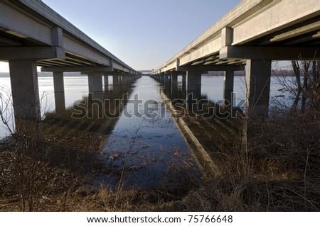 Cedar Bridge or Highway 77 roadway along shores of Minnesota River in Bloomington Minnesota