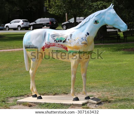 CEDARHURST, NEW YORK -  AUGUST 6, 2015: Horse sculpture with mural in memory of Mets win 1986 World Series in Long Island