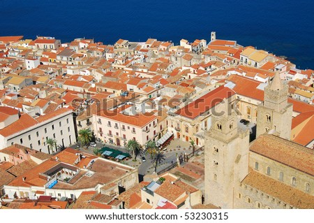 Cefalu city, medieval landmark in Sicily
