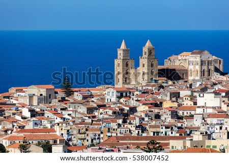 Cefalu's Cathedral, one of the most interesting buildings in Sicily, originated by the Norman King Roger II, consecrated in 1267. Reflects Norman, Latin, Greek, and Arab architectural influences. #538007452