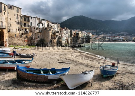 Cefalu, Sicily island in Italy. Harbor view of beautiful Mediterranean town. Province of Palermo.